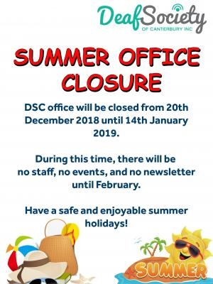 Summer office closure copy